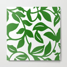 PALM LEAF VINE SWIRL IN GREEN AND WHITE Metal Print