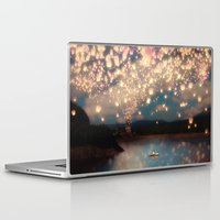 pixel Laptop & iPad Skins featuring Love Wish Lanterns by Paula Belle Flores