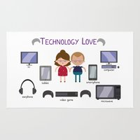 technology Area & Throw Rugs featuring Technology Love by Juliana Motzko