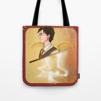harry potter Tote Bags featuring Harry Potter by Imaginative Ink
