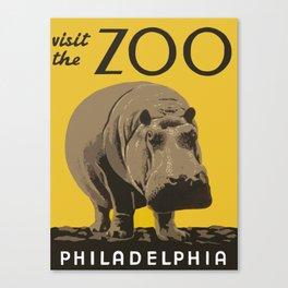 Vintage Visit The Zoo Hippo Canvas Print