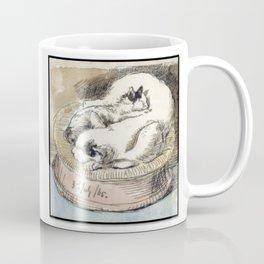 Mama Cat with Kitten in a Wicker Basket Coffee Mug
