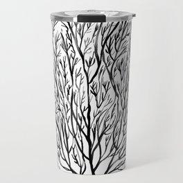 Coral seaweed, black white Travel Mug