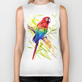 Parrot Scarlet Macaw, Tropical Birds, Jungle Red, Green Blue bright colored tropical artwork Biker Tank