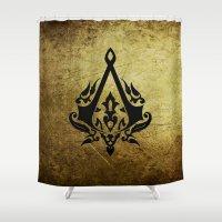 assassins creed Shower Curtains featuring Creed Assassins Grunge Logo by DavinciArt