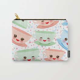 Cute blue pink green Kawai cup, coffee tea with pink cheeks and winking eyes, polka dot background Carry-All Pouch