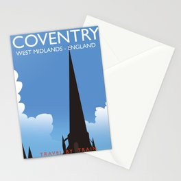 Coventry West Midlands England Train travel poster Stationery Cards