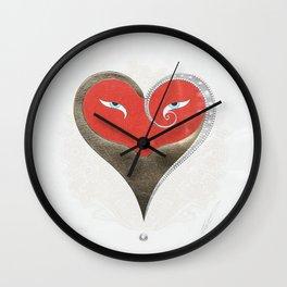 """""""Crimson & Gold Heart"""" Art Deco Design by Erté Wall Clock"""