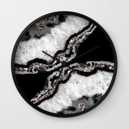 Yin Yang Agate Glitter Glam #5 #gem #decor #art #society6 Wall Clock