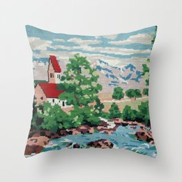 Cross stitch Red RoofTops Throw Pillow
