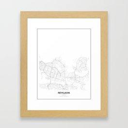 Reykjavik, Iceland Minimalist Map Framed Art Print