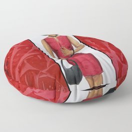 The Woman In Red Floor Pillow