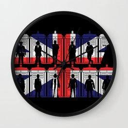 All 11 doctors UK flag tardis Wall Clock