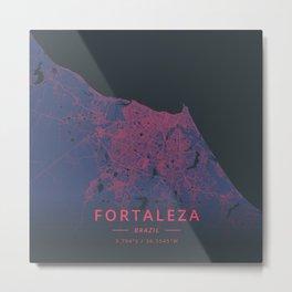 Fortaleza, Brazil - Neon Metal Print