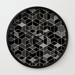 Black geometry / hexagon pattern Wall Clock