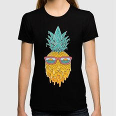Pineapple Summer X-LARGE Black Womens Fitted Tee