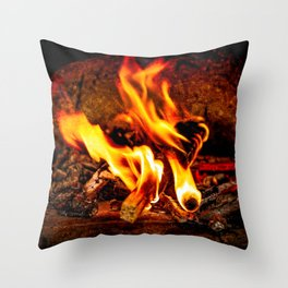 Firewood Burns In A Vintage Stove Throw Pillow