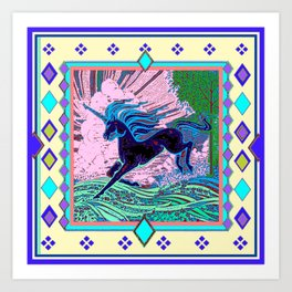 Blue Mythical Unicorn in Meadow Abstract Art Print