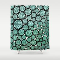 trees Shower Curtains featuring Blooming Trees by Pom Graphic Design
