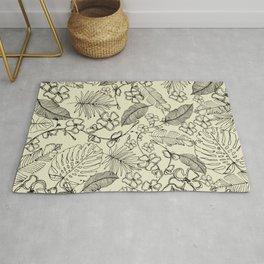 Monochrome Tropical Leaves and Flowers Rug