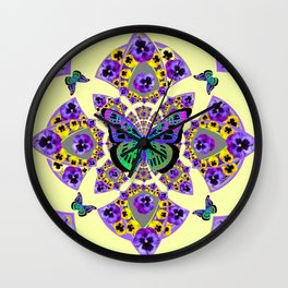 PURPLE  PANSIES & EXOTIC BUTTERFLY GEOMETRIC DESIGN Wall Clock