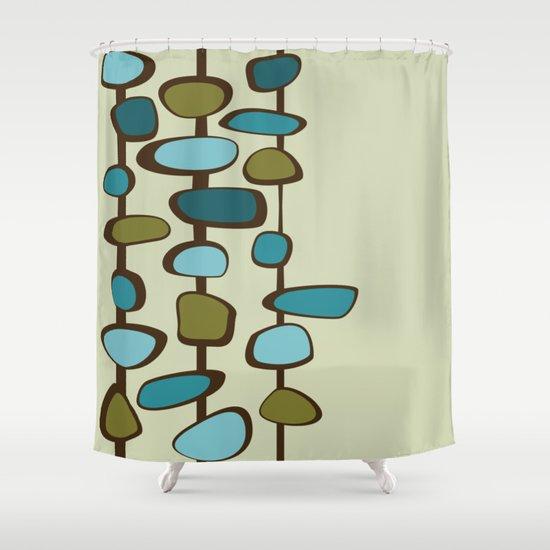 Mid Century Modern Baubles (teal) Shower Curtain