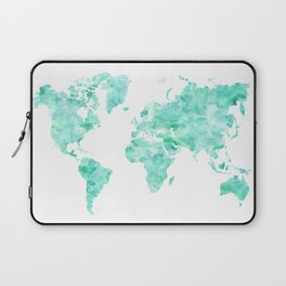 Teal aquamarine watercolor world map Laptop Sleeve