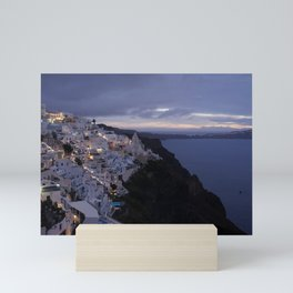 Night Ocean View of a peaceful Santorini, Greece Mini Art Print