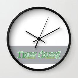 Naw Dawg Grey Stripe Wall Clock
