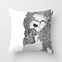 lions Throw Pillows featuring Lions by Zora Chen