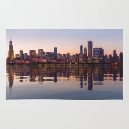 Panorama of the City skyline of Chicago Rug
