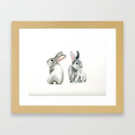 baby rabbit sister watercolor painting  Framed Art Print