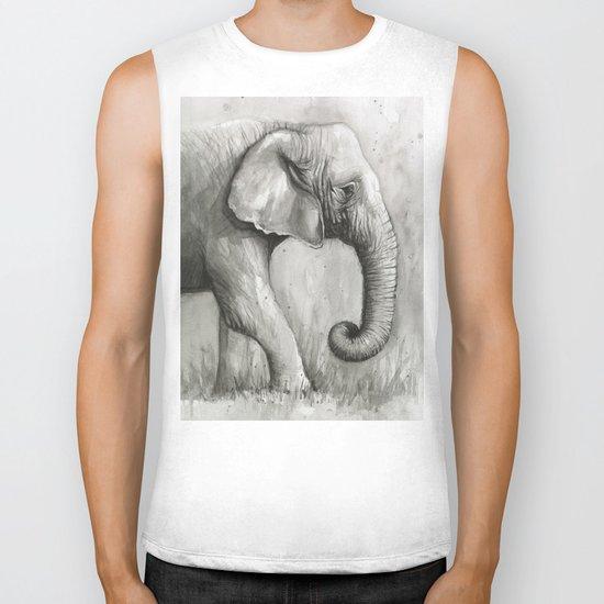 Elephant Black and White Watercolor Animals Biker Tank