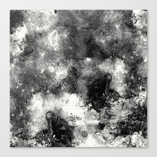 Deja Vu - Black and white, textured painting Canvas Print