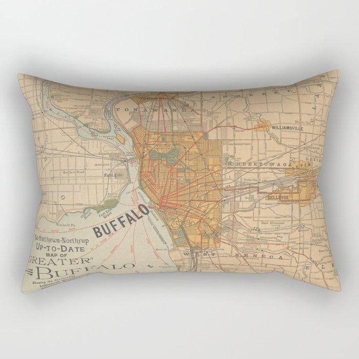 Vintage Map of Buffalo NY (1893) Rectangular Pillow