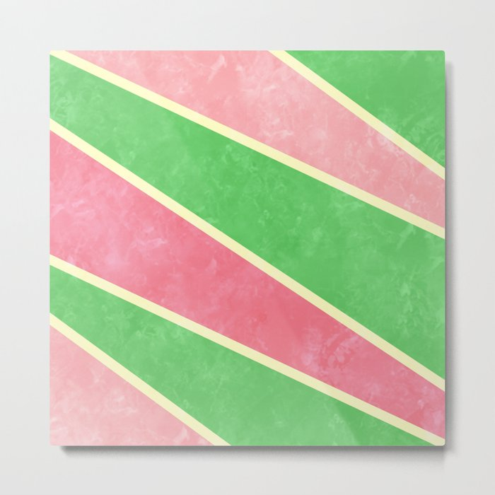 Pink and Green Diagonal Stripes Metal Print