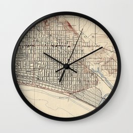 Vintage Map of Long Beach California (1923) Wall Clock