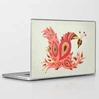 rose gold Laptop & iPad Skins featuring Peacock – Rose & Gold by Cat Coquillette