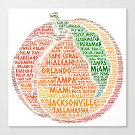 Peach Fruit illustrated with cities of Florida State USA Canvas Print