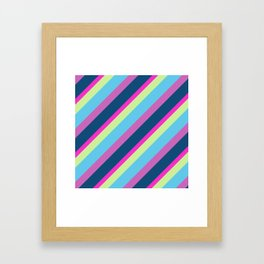 Summer fun Blue pink lime Colorful lines Framed Art Print