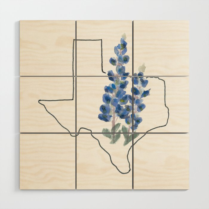 31c3d8c780b89 texas // watercolor bluebonnet state flower map Wood Wall Art by ...