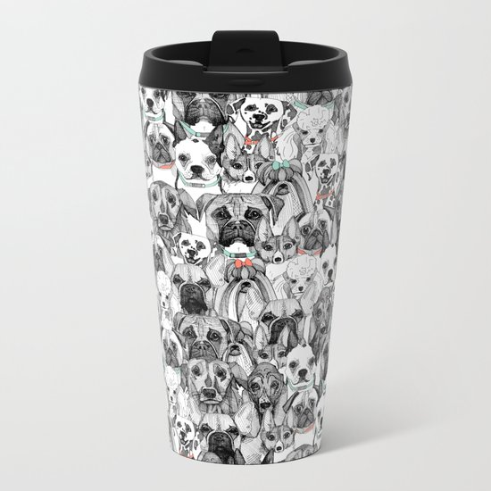 just dogs coral mint Metal Travel Mug