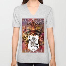 Poker King Spades colored Unisex V-Neck