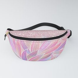 Girly pink artsy floral pink glitter Fanny Pack