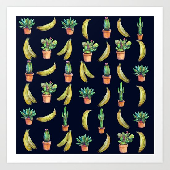 Cactus & Bananas at night Art Print