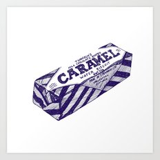 Caramel wafer pen drawing (blue) Art Print