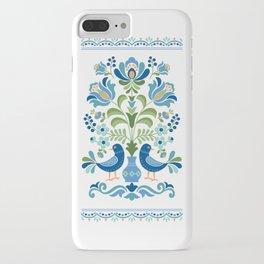 Hungarian Folk Design Blue Birds iPhone Case