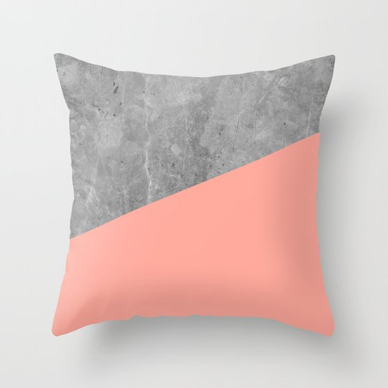 Coral Pink Concrete Throw Pillow by Simple Luxe Society6