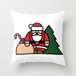 Santa Claus, bag of toys and Christmas tree Throw Pillow