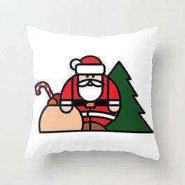 Santa Claus, bag of toys and Christmas tree Throw Pillow